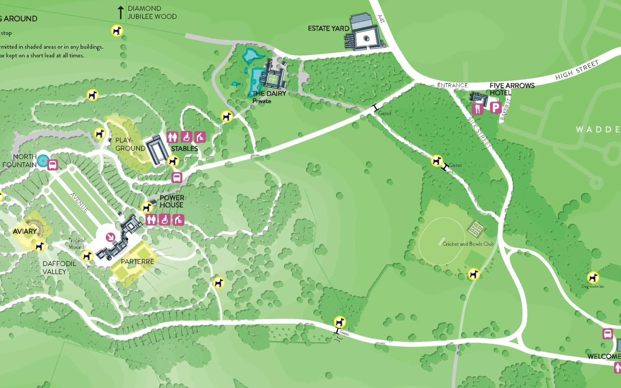 Dog map for Waddesdon Manor