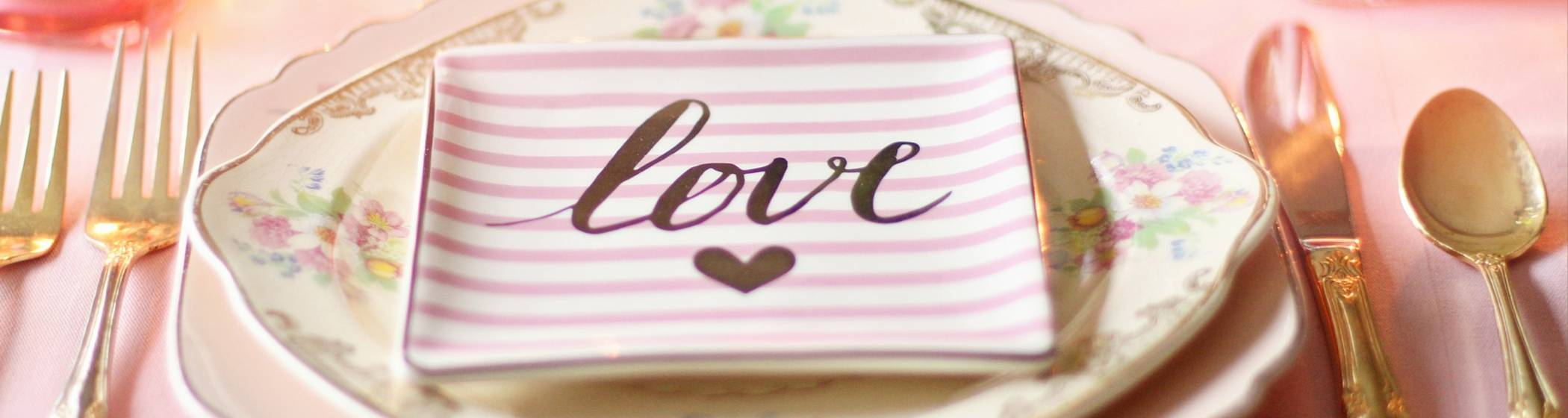 Plates with love written on