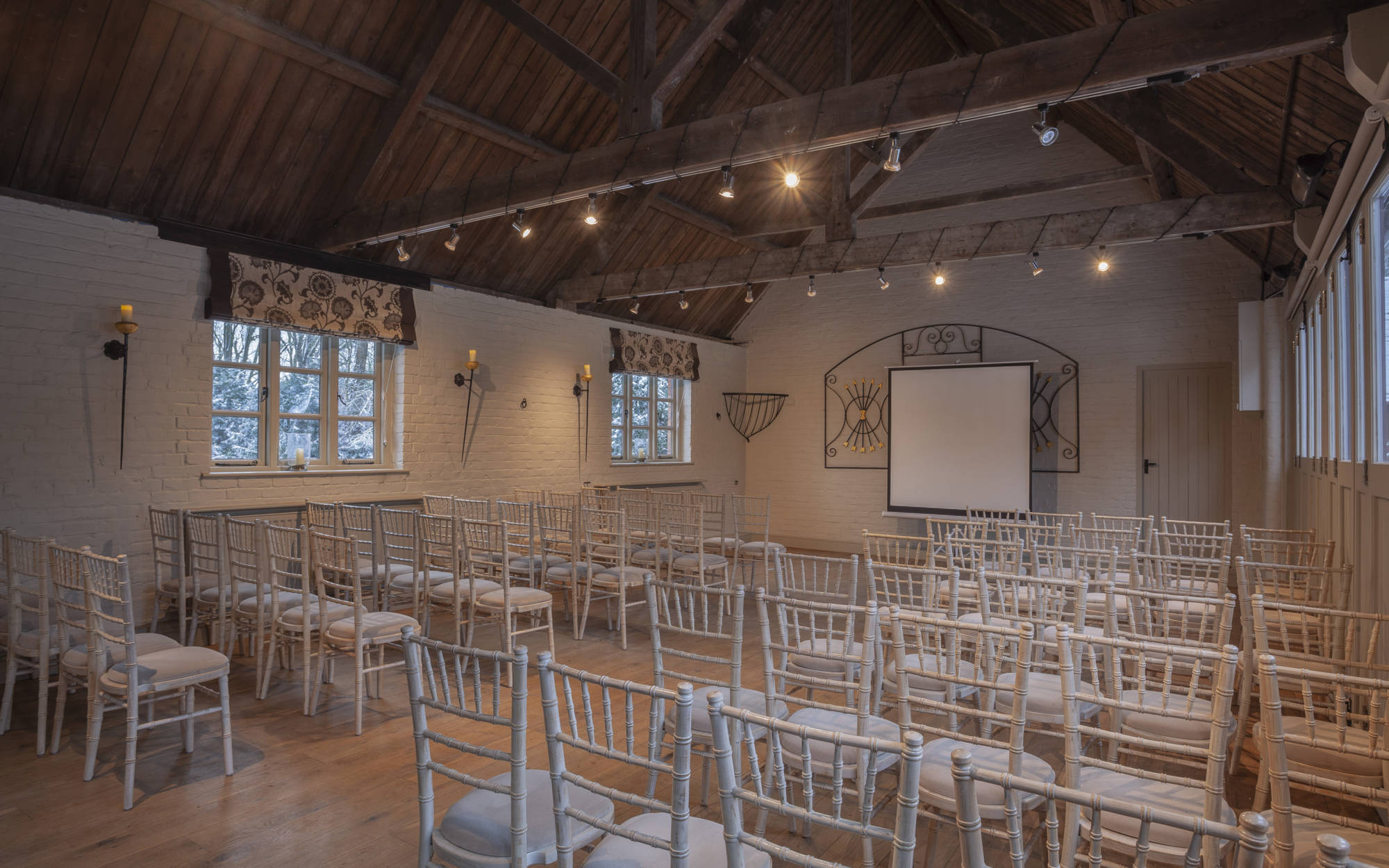 The Five Arrows Coach House set up for a meeting.
